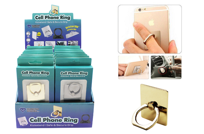 CELL PHONE Ring (3 in 1 Functionality) (Asst. Colors)