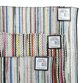 SCATTER RUG 24X45 MULTI-COLOR REVERSIBLE WOVEN MADE IN USA #36283