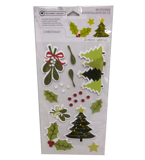 Christmas 3D STICKERS 21pc 2 Sheets #37638