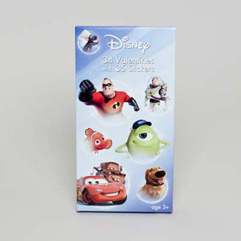 VALENTINE CARDS 34CT DELUXE DISNEY PIXAR W/STICKERS #4158635