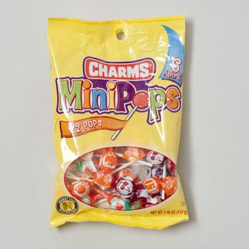CANDY CHARMS MINI-POPS PEG BAG 6 FLAVORS 22 PER BAG CLIP STRIP #48422