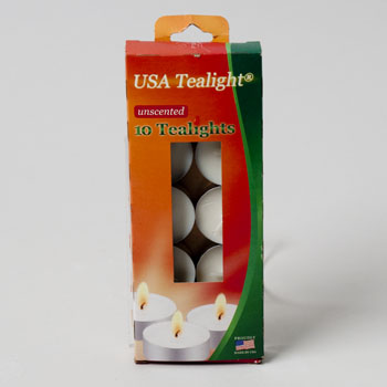 CANDLE TEALIGHT 10PK UNSCENTED BOXED #500-UN