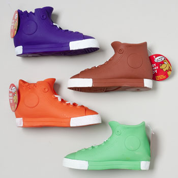 DOG TOY VINYL HIGH-TOP SNEAKER WITH SQUEAKER 4 COLORS IN PDQ #66883PN