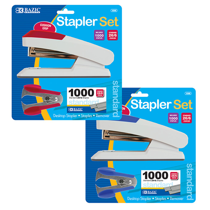 BAZIC Comfort Grip Desktop Stapler Set #698