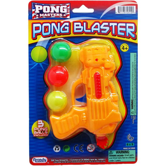 ''5.5'''' PING PONG TOY GUN PLAY SET ON BLISTER CARD, 3 ASSRT''