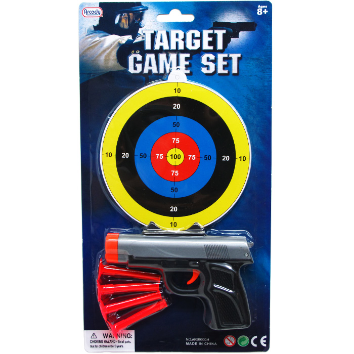 ''5.5'''' TOY GUN W/ SOFT DARTS & TARGET ON BLISTER CARD''