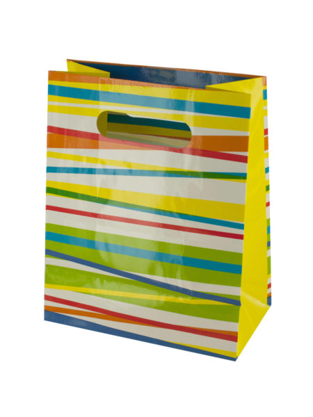 Multi-Color Stripes Gift Bag