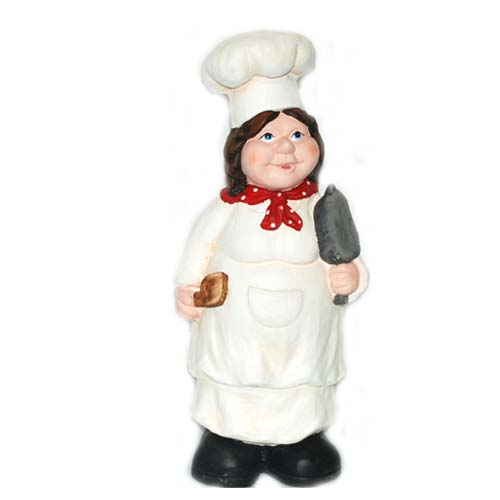 Polyresin Chef Lady FIGURINE H17.32in #BI-72226-4