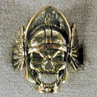 BIKER RING HELMETED SKULL (Sold by the piece) #BR127