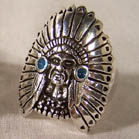 INDIAN WITH HEAD DRESS DELUXE BIKER RING (Sold by the piece) #BR86R