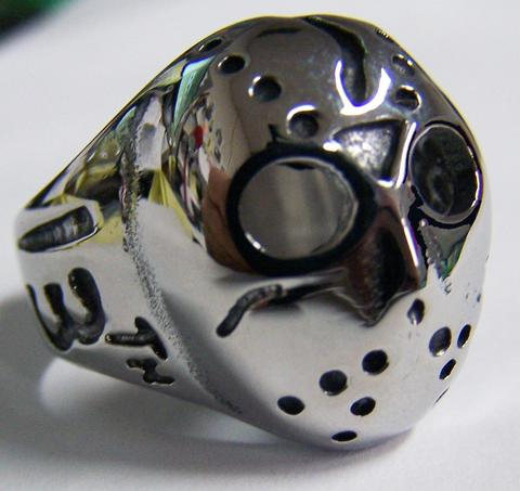 JASON MONSTER HOCKEY MASK STAINLESS STEEL BIKER RING ( sold by the piece ) #BRS531