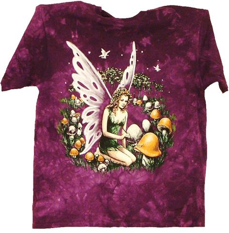 FAIRY WITH MUSHROOMS TIE DYED SHORT SLEEVE TEE SHIRT (Sold by the piece) #BTE56