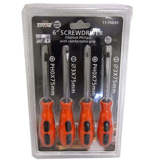 6 In. SCREWDRIVER 4ct #DEDC-00969-12