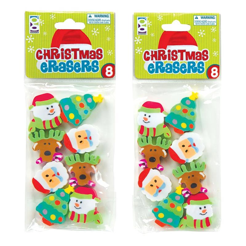8-CT CHRISTMAS ERASER PACK