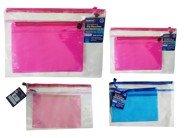 ''2PC Zip Document Holders A4 + A5 BLUE, PINK, #26633''