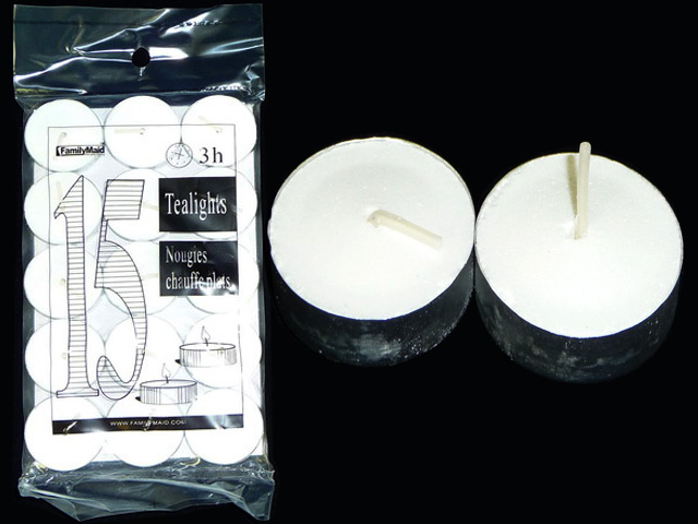 ''CANDLE 15PC IN BAG WT CLR PRESSED TEALIGHTS, #34004''