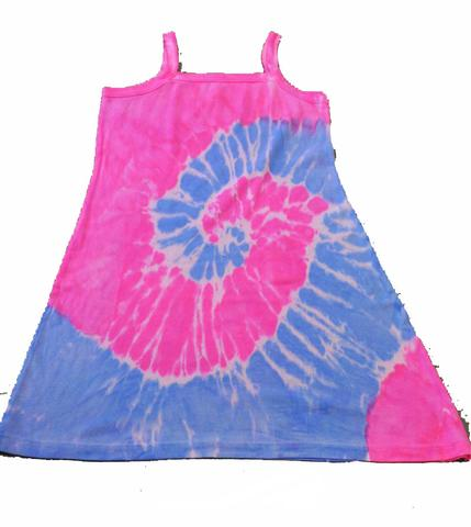 PINK AND BLUE SWIRL TIE DYED DRESS ( sold by the piece ) #DRS002