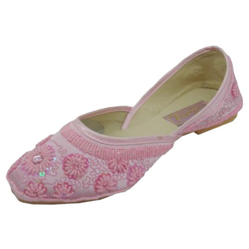 Women's Satin Quilted SHOES With Sequin ( Pink Color )