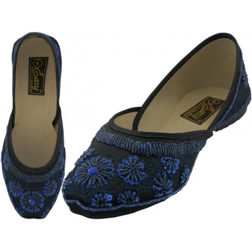 Women's Satin Quilted SHOES With Sequin ( Turquoise Colors )
