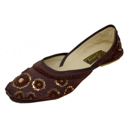 Women's Satin Quilted SHOES With Sequin ( Brown Color )