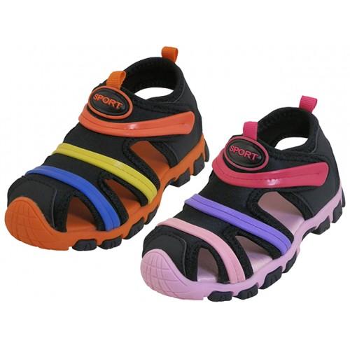 ''Toddler's ''''EasyUSA'''' Rainbow Stripe Upper Velcro SANDALS ( Asst. Black/Pink & Black/Orange )''