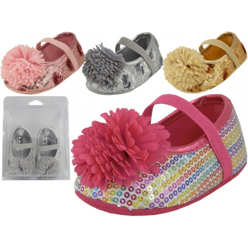 ''Baby Sequin SHOES w/Bow ( Asst. Silver, Gold Pink And Multi )''