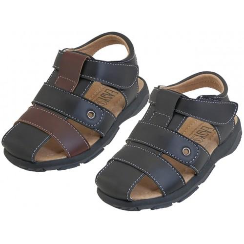 ''Boy's ''''EasyUSA'''' Pu. Leather Upper Velcro SANDALS ( Asst. Black & Brown )''
