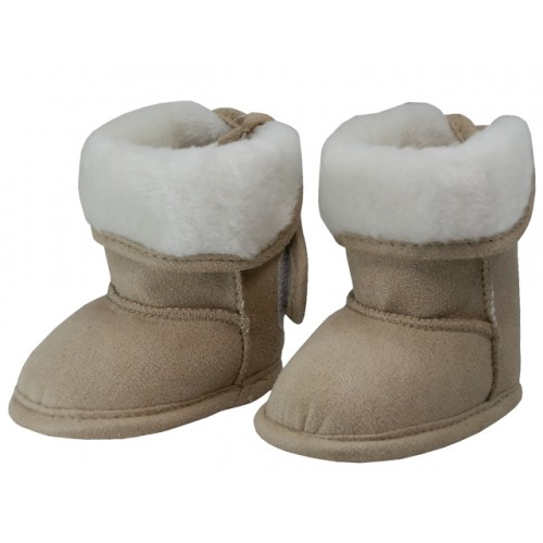 Baby's Velcro Strap Fold Over Faux Fur Lining Winter BOOTS ( Beige Color )
