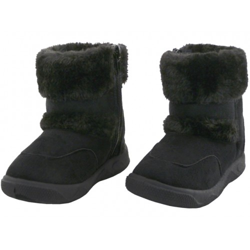 Child's Winter BOOTS With Faux Fur Lining And Side Zipoper ( Black Color )