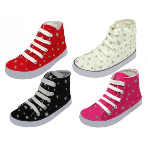 ''Children's Lace Up High Top Star Printed Canvas SHOES ( Asst. Black, White, Red And Pink )''
