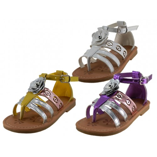 ''Girl's ''''EasyUSA'''' Mettalic Rose Top SANDALS ( Asst. Purple, White And Yellow )''