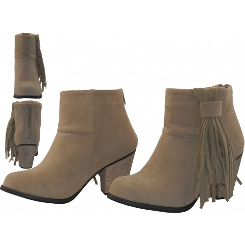 Women's Suede 2 Inches Heel & Side Fringe Ankle High BOOTS ( Beige Color )