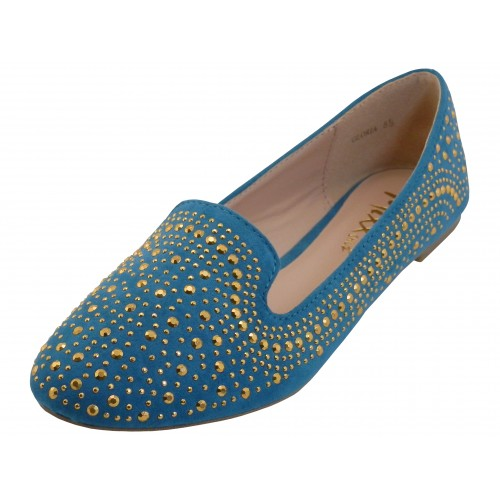 ''Women's ''''Angeles SHOES'''' Studded Ballet Flats ( Teal Color )''