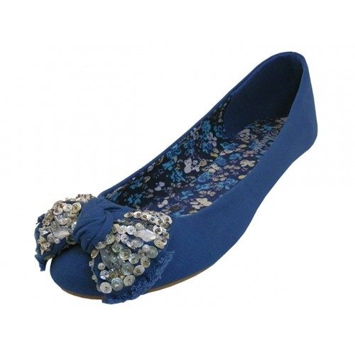 ''Women's ''''Angeles SHOES'''' Flat Ballet With Bow Top ( Light Blue)''