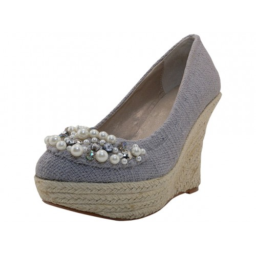''Women's ''''Angeles SHOES'''' High Wedge Sandal ( Gray Color )''