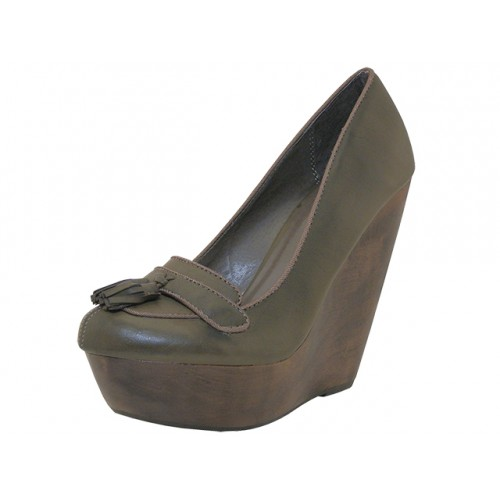 ''Women's ''''Angeles SHOES'''' High Platform Wedge ( Taupe Color )''