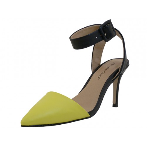 ''Women's ''''Angeles SHOES'''' Ankle High Heel Triangle Close Toe Sandals ( Yellow Color )''