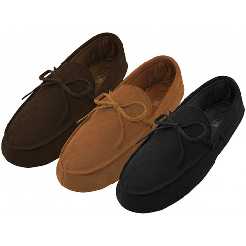 Men's Leather Upper Moccasins Insulated SHOES ( Asst. Black Beige & Brown )