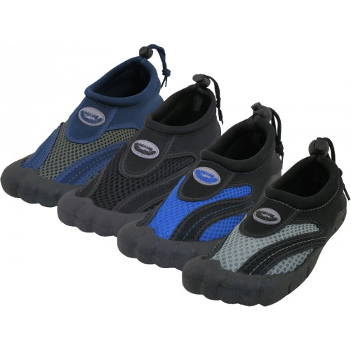 ''Men's ''''Wave'''' Barefoot Water SHOES. ( Asst. All Black. Navy/Gray, Black/Royal And Black/Gray )''