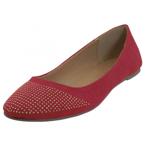 ''Women's ''''Angeles SHOES'''' Micro Fiber Studded Ballet Flats ( Red Color )''