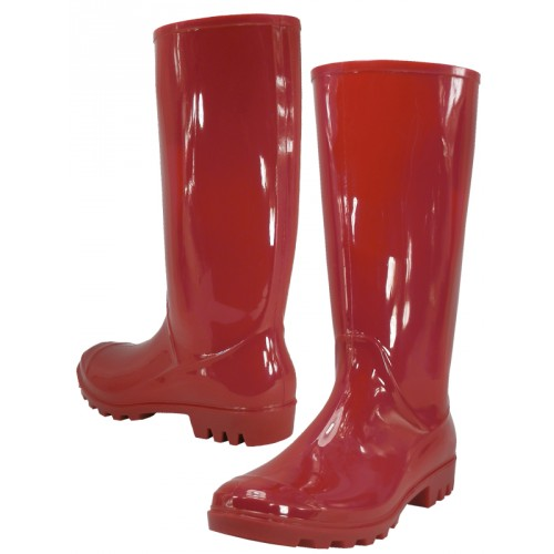 Women's 13 Inches Water Proof Rubber RAIN BOOTS ( Red Color )