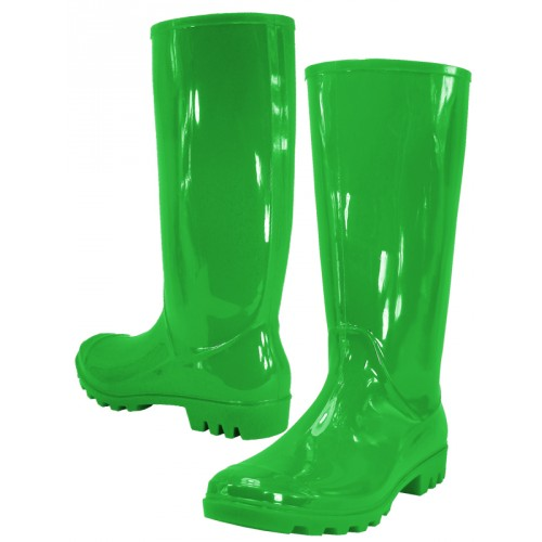 Women's 13 Inches Water Proof Rubber RAIN BOOTS ( Green Color )