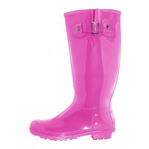 Women's 15.5 Inches Water Proof Rubber RAIN BOOTS ( Fuchsia Color )