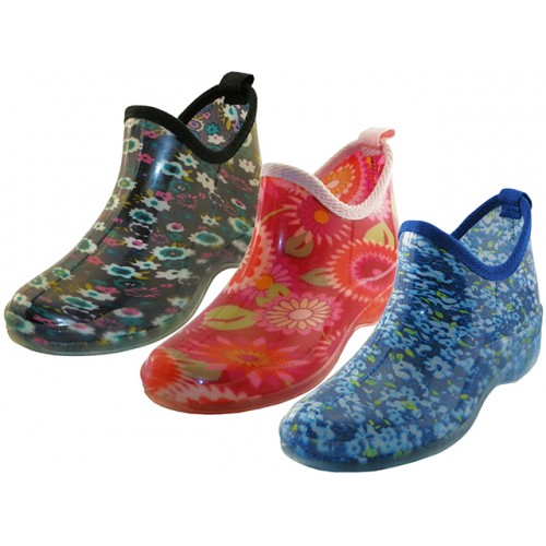 ''Women's Water Proof Ankle Height Garden SHOES, Rain Boots ( Asst. 3 Prints )''