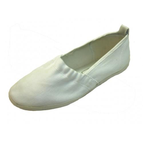 Women's Elastic Upper Slip On Canvas SHOES ( White Color )