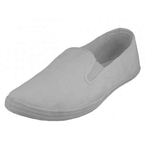 Children's slip on Twin Gore Upper Casual Canvas SHOES ( White Color )