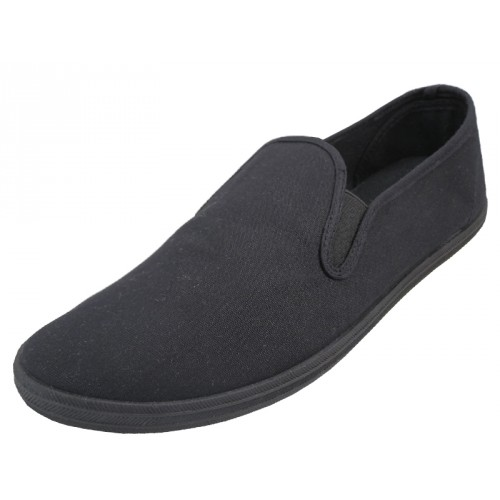 Men's Slip On Twin Gore Casual Canvas SHOES ( Black Color ) Open Stock