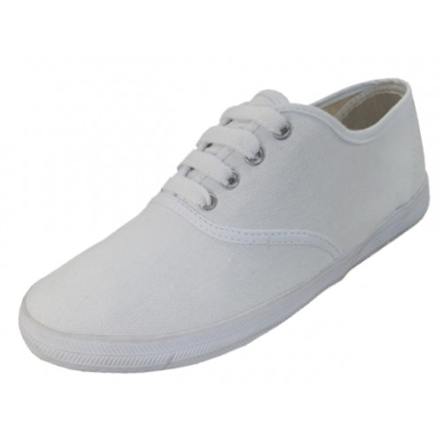 Youth's Lace Up Casual Canvas SHOES ( White Color )