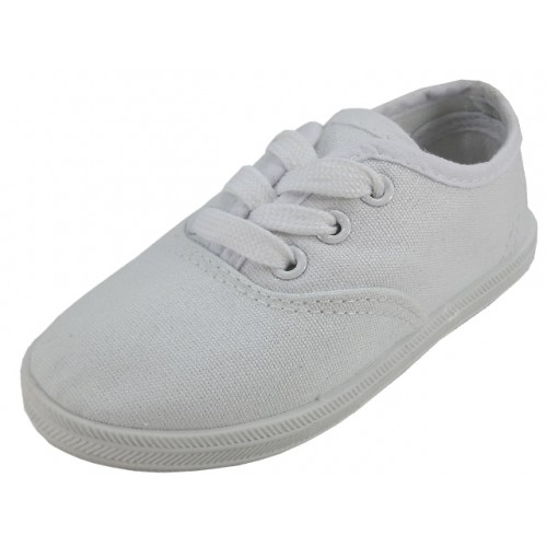 ''Children's ''''EasyUSA'''' Casual Canvas Lace Up SHOES (  White Color )''