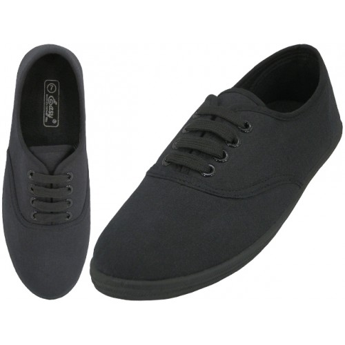 ''Women's ''''EasyUSA'''' Casual Canvas Lace Up SHOES ( All Black Color ) Available In Single Size''
